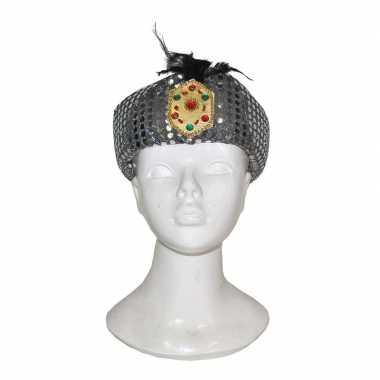 1001 nacht zilveren tulband met edelstenencarnavalskleding