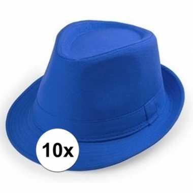 10x blauwe trilby hoedjes voor volwassenencarnavalskleding