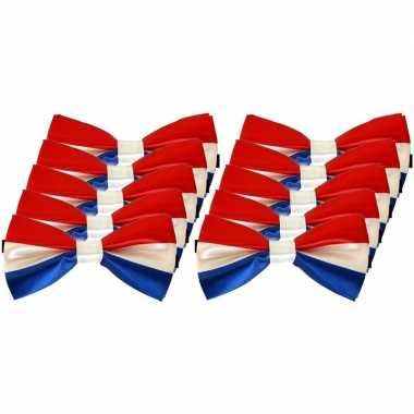10x carnaval/feest vlinderstrik/vlinderdas rood/wit/blauw 12 cm verkleedaccessoire voor volwassenencarnavalskleding