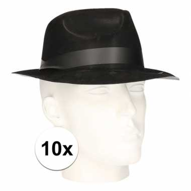 10x feest hoedjes maffia zwart voor volwassenencarnavalskleding