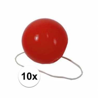 10x feest plastic clownsneuzen roodcarnavalskleding