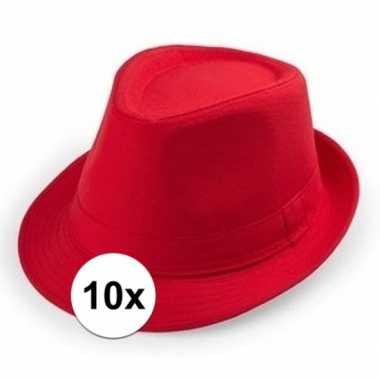10x rode trilby hoedjes voor volwassenencarnavalskleding