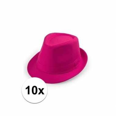 10x roze trilby hoedjes voor volwassenencarnavalskleding