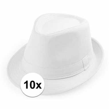 10x witte trilby hoedjes voor volwassenencarnavalskleding