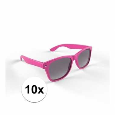 10x zonnebril met kunststof roze montuur voor volwassenencarnavalskle