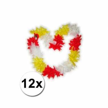 12 hawaii kransen rood geel wit carnavalskleding