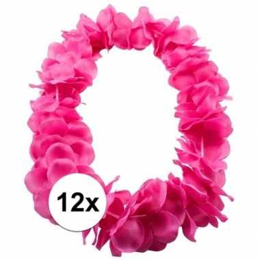 12x bloemenkrans ketting rozecarnavalskleding