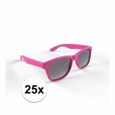 25x zonnebril met kunststof roze montuur voor volwassenencarnavalskle