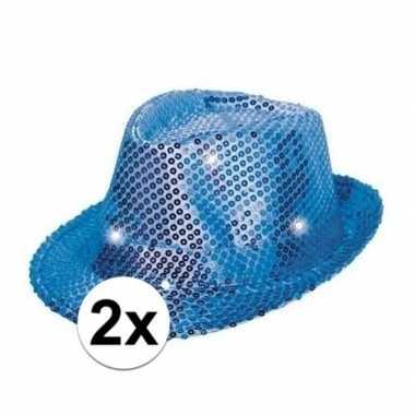 2x blauwe glitter hoedjes met led lichtcarnavalskleding