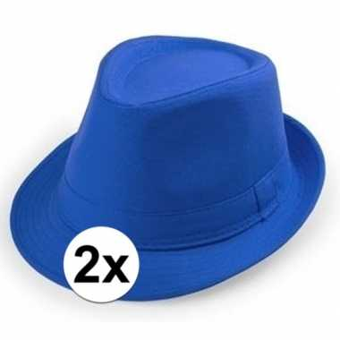 2x blauwe trilby hoedjes voor volwassenencarnavalskleding