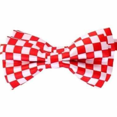 2x carnaval/feest vlinderstrik/vlinderdas rood/wit geblokt 12 cm verkleedaccessoire voor volwassenencarnavalskleding