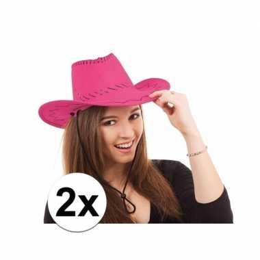 2x cowboy hoed in roze kleur voor topperscarnavalskleding