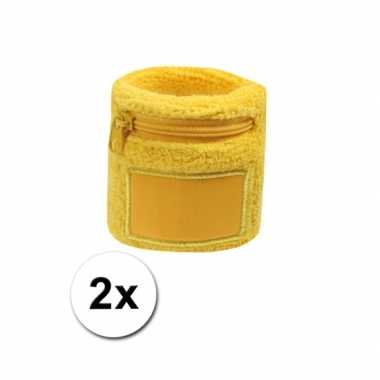 2x gele blauwe zweetbandjes met zakjecarnavalskleding