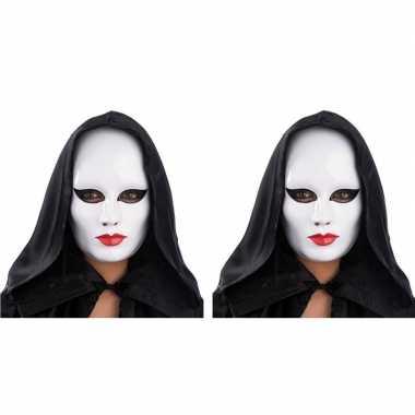 2x gezichtsmasker wit met rode lippencarnavalskleding