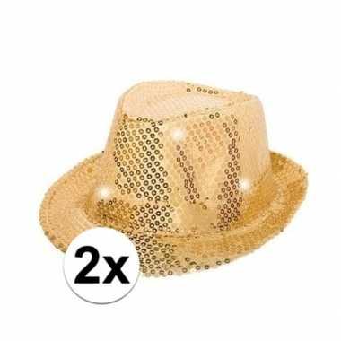 2x gouden glitter hoedjes met led lichtcarnavalskleding
