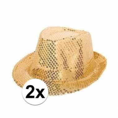 2x gouden hoedjes met gouden pailletten carnavalskleding