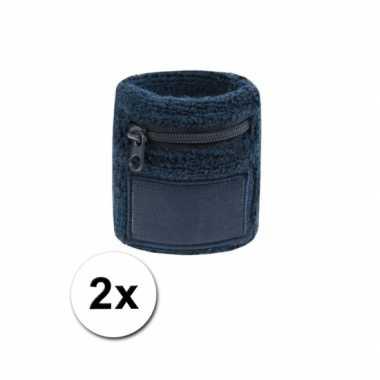 2x navy blauwe zweetbandjes met zakjecarnavalskleding
