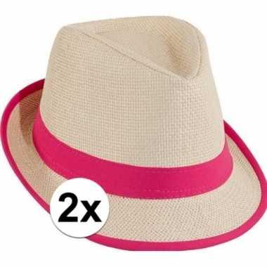 2x stro trilby hoedje roze toppers concertcarnavalskleding
