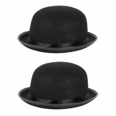 2x stuks carnaval/feest bolhoed/bowler hat zwart voor volwassenencarnavalskleding