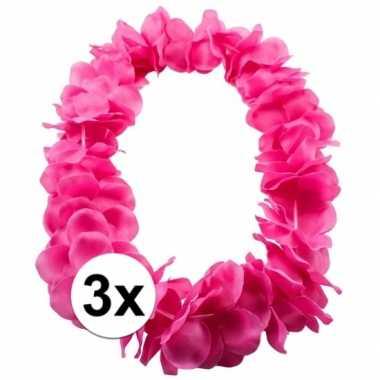 3x bloemenkrans ketting rozecarnavalskleding