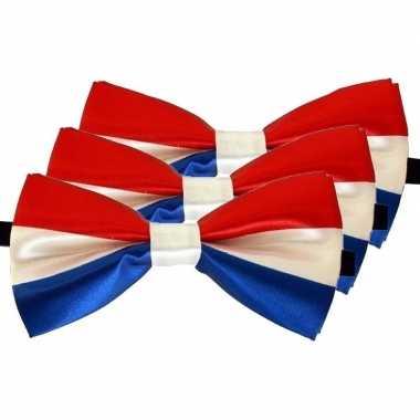 3x carnaval/feest vlinderstrik/vlinderdas rood/wit/blauw 12 cm verkleedaccessoire voor volwassenencarnavalskleding