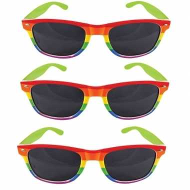 3x carnavalaccessoires bril regenboogkleurencarnavalskleding