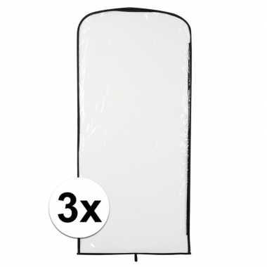 3x carnavaskleding hoes transparant 95 x 42 cmcarnavalskleding