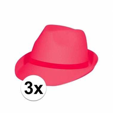3x feest toppers hoedjes fuchsia rozecarnavalskleding