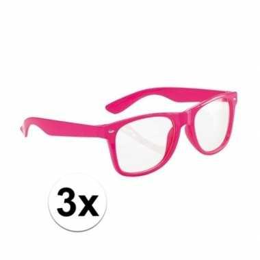 3x neon roze party verkleedbril voor volwassenencarnavalskleding
