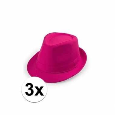 3x roze trilby hoedjes voor volwassenencarnavalskleding