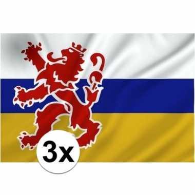 3x vlaggen van limburgcarnavalskleding