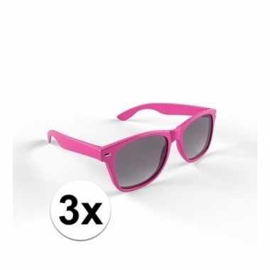 3x zonnebril met kunststof roze montuur voor volwassenencarnavalskled