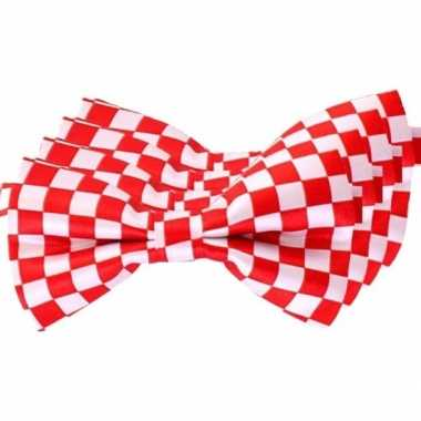 4x carnaval/feest vlinderstrik/vlinderdas rood/wit geblokt 12 cm verkleedaccessoire voor volwassenencarnavalskleding