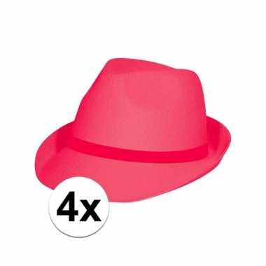 4x feest toppers hoedjes fuchsia rozecarnavalskleding