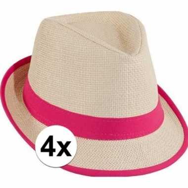 4x stro trilby hoedje roze toppers concertcarnavalskleding