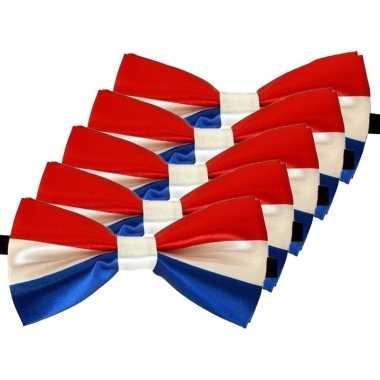 5x carnaval/feest vlinderstrik/vlinderdas rood/wit/blauw 12 cm verkleedaccessoire voor volwassenencarnavalskleding