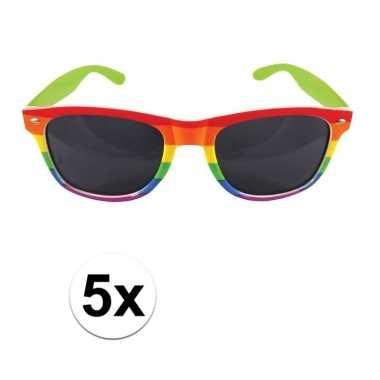 5x carnavalaccessoires bril regenboogkleurencarnavalskleding