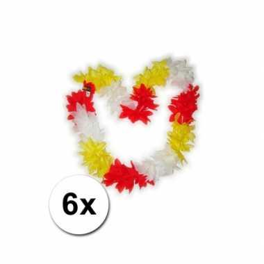 6 hawaii kransen rood geel wit carnavalskleding