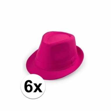 6x roze trilby hoedjes voor volwassenencarnavalskleding