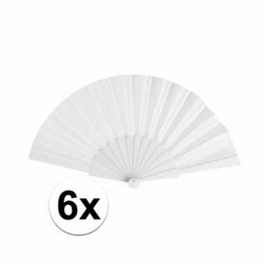 6x voordelige waaiers wit 23 cmcarnavalskleding
