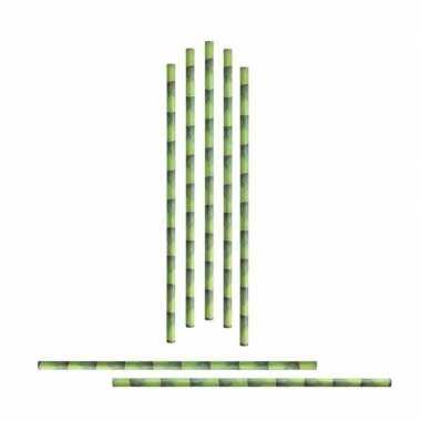 72x papieren rietjes bamboestengel carnavalskleding