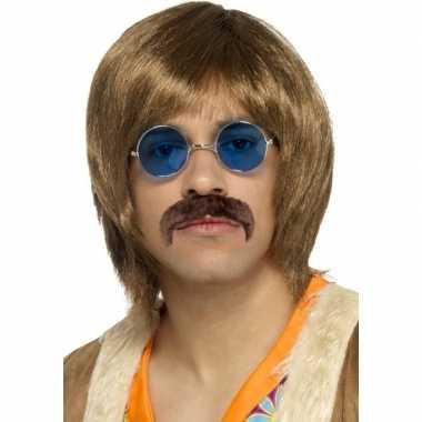 Abba heren verkleed pruik, snor en bril setje voor herencarnavalskled