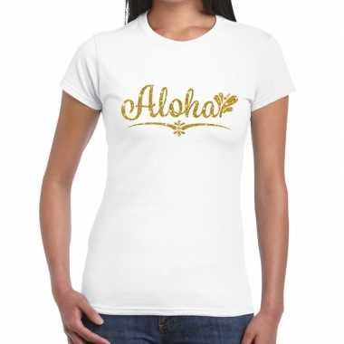 Aloha goud glitter t-shirt wit damescarnavalskleding