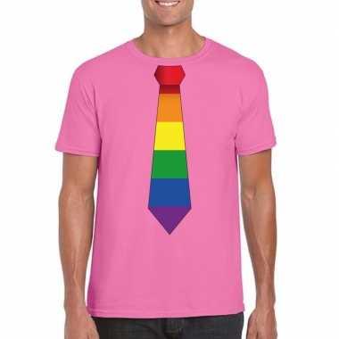 Azalea roze t-shirt met regenboog vlag stropdas herencarnavalskleding