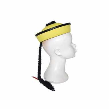 Aziatisch hoedje geel met vlechtjecarnavalskleding