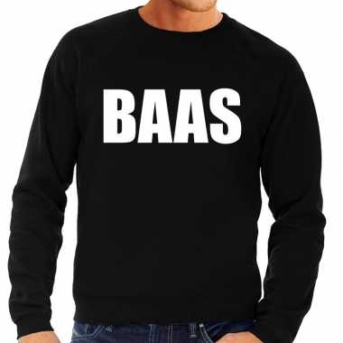 Baas tekst sweater / trui zwart voor herencarnavalskleding