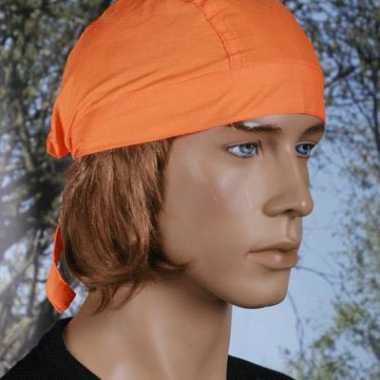 Bandana in oranje kleur uni 1 carnavalskleding
