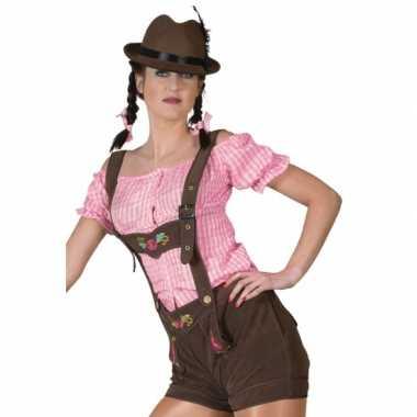 Bierfeest lederhose bruin voor damescarnavalskleding