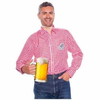 Bierfest overhemden voor mannen rood en wit carnavalskleding