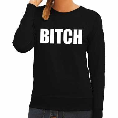 Bitch tekst sweater / trui zwart voor damescarnavalskleding